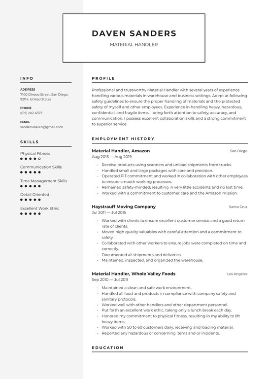 material handler resume examples writing tips free guide io entry level warehouse coach Resume Entry Level Warehouse Resume