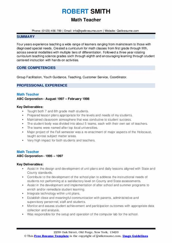 math teacher resume samples qwikresume and science pdf right official example Resume Math And Science Teacher Resume