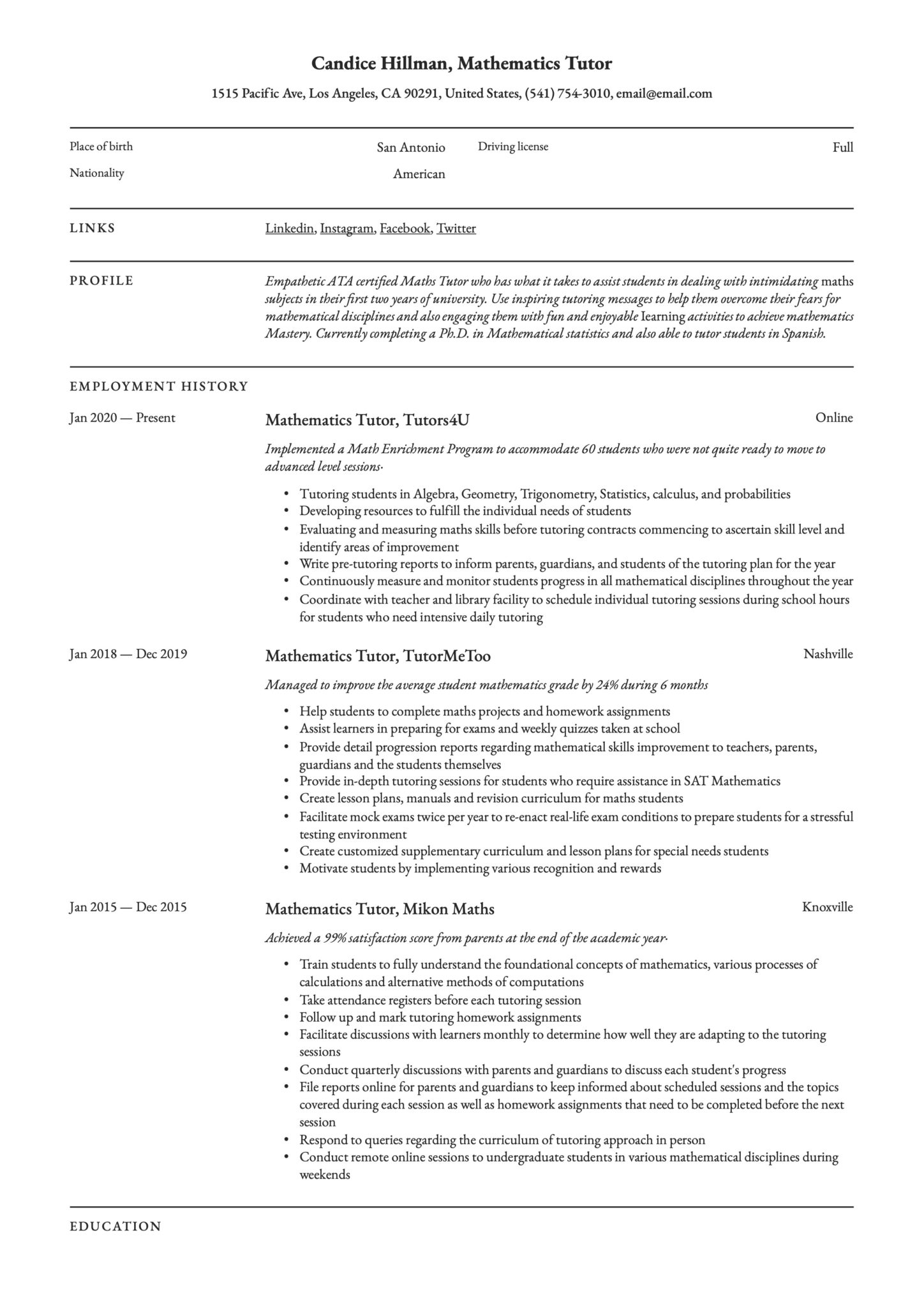 mathematics tutor resume writing guide examples description scaled for short process Resume Tutor Resume Description