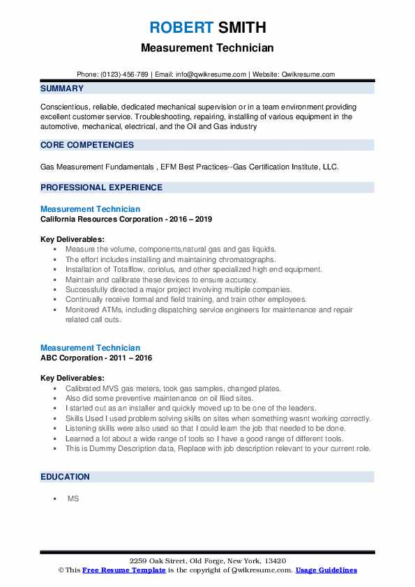 measurement technician resume samples qwikresume free oil and gas templates pdf Resume Free Oil And Gas Resume Templates