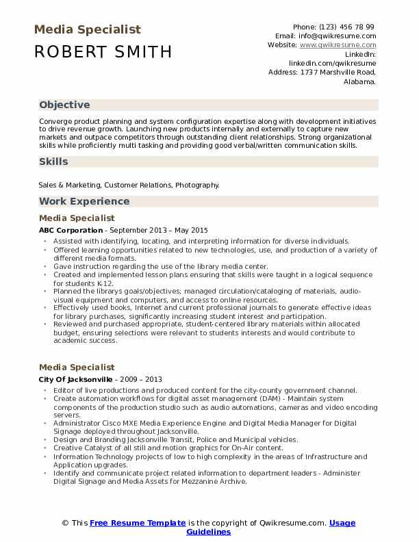 media specialist resume samples qwikresume objective for pdf health care aide format Resume Objective For Media Resume