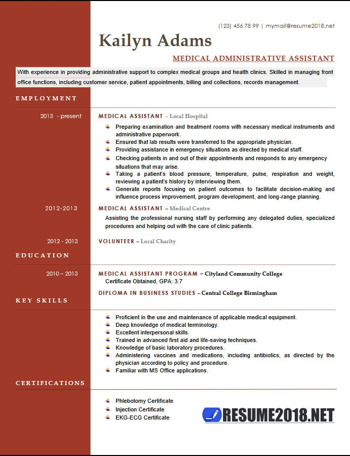 medical assistant resume examples six templates in format administrative template Resume Medical Resume Examples 2018
