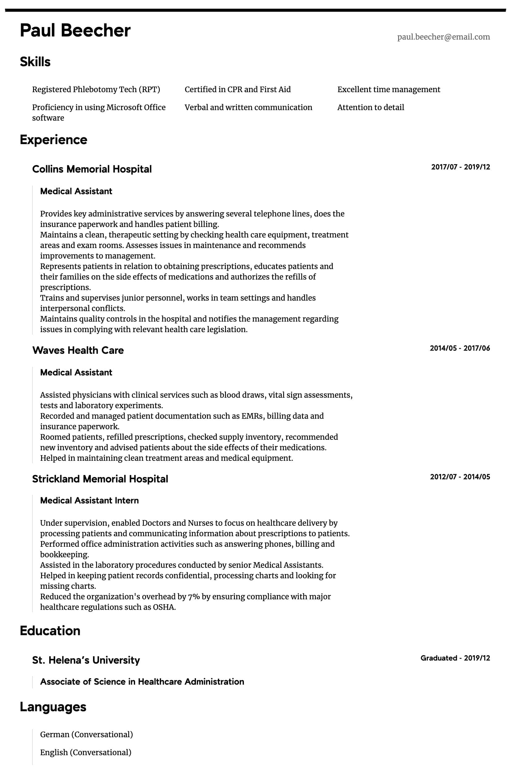 medical assistant resume samples all experience levels first aid sample intermediate make Resume First Aid Resume Sample