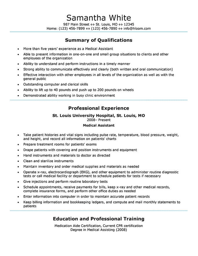 medical assistant resume templates and job tips hloom experienced generic sample good Resume Experienced Medical Assistant Resume