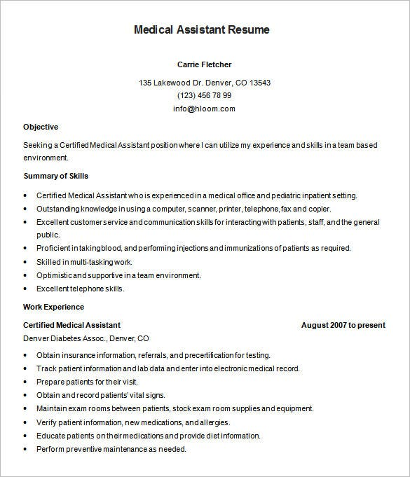 medical assistant resume templates pdf free premium objective for example certified Resume Objective For Medical Assistant Resume Example