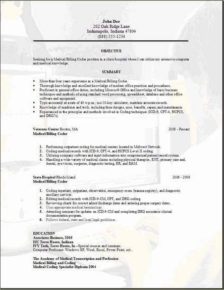 medical billing resume occupational examples samples free edit with word sample for Resume Sample Resume For Medical Coding Specialist