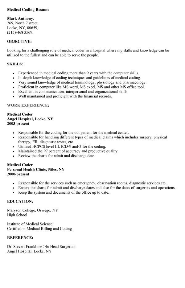 medical coding resume coder objective for should you put quote on your hair salon Resume Objective For Medical Coding Resume