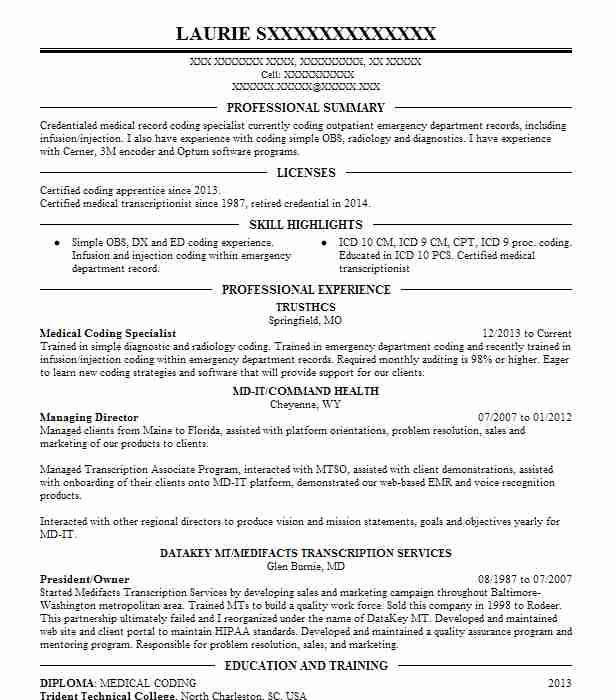 medical coding specialist resume example livecareer format for job seo years experience Resume Resume Format For Medical Coding Job