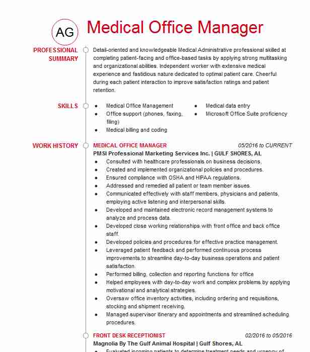 medical office manager resume example center healthcare sample management summary skills Resume Healthcare Office Manager Resume Sample