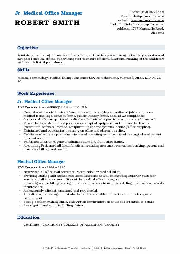 medical office manager resume samples qwikresume healthcare sample pdf benefits templates Resume Healthcare Office Manager Resume Sample