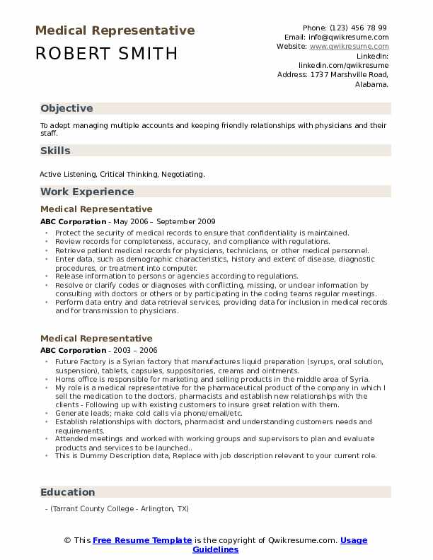 medical representative resume samples qwikresume objective pdf for first year student Resume Medical Representative Objective Resume