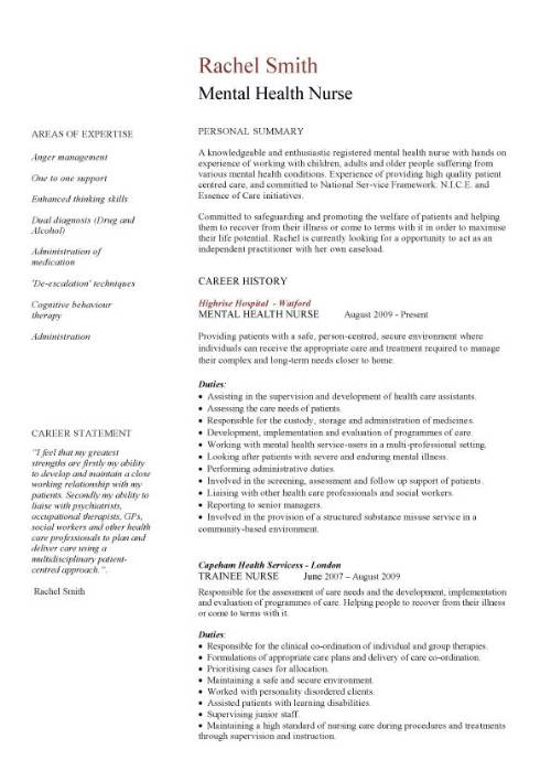 mental health nurse cv sample career history resume example template nursing jobs job Resume Mental Health Job Description For Resume