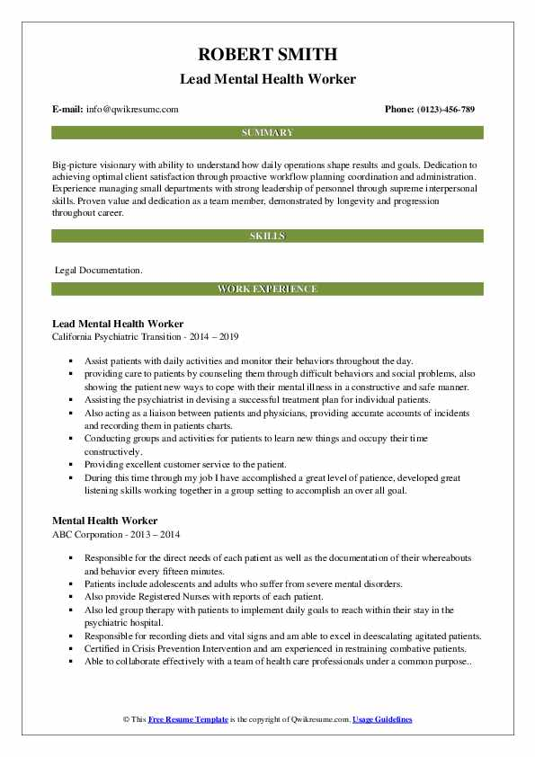 mental health worker resume samples qwikresume job description for pdf star technique Resume Mental Health Job Description For Resume