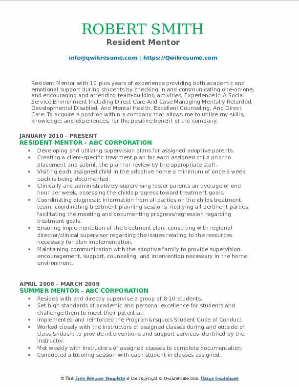 mentor resume samples qwikresume mentoring experience on pdf copy and paste template Resume Mentoring Experience On Resume