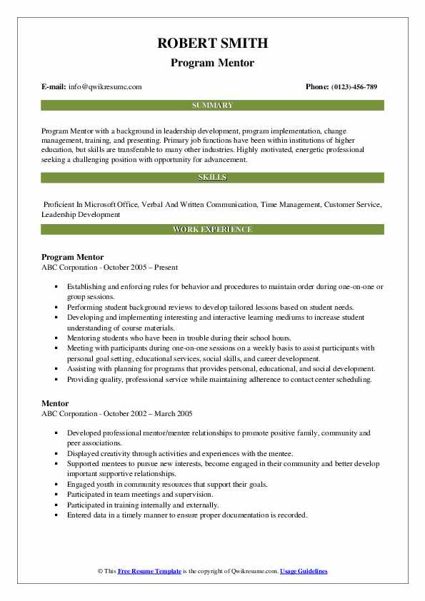 mentor resume samples qwikresume mentoring experience on pdf patent attorney sample for Resume Mentoring Experience On Resume