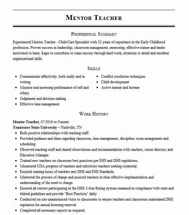mentor teacher resume example resumes livecareer mentoring experience on first job Resume Mentoring Experience On Resume