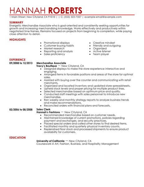 merchandise associate resume example resumes livecareer jcpenney examples customer Resume Jcpenney Resume Examples