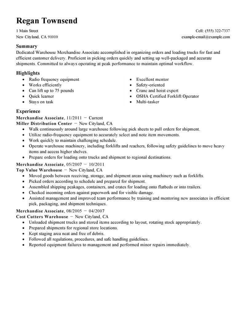 merchandise associate resume example resumes livecareer jcpenney examples production Resume Jcpenney Resume Examples