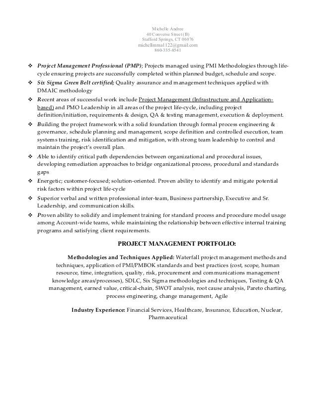 michelle andree pmp ssgbc senior project manager resume healthcare summary for Resume Healthcare Project Manager Resume