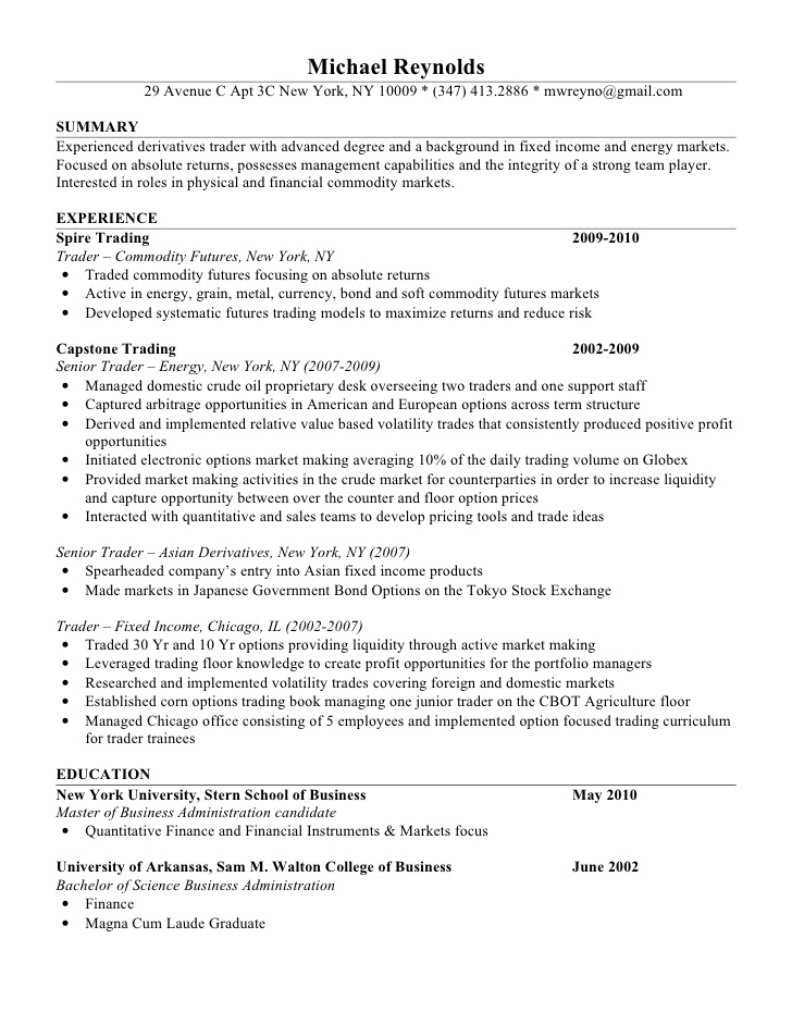 mike resume foreign exchange trading applying with linkedin vs whats an objective on Resume Foreign Exchange Trading Resume