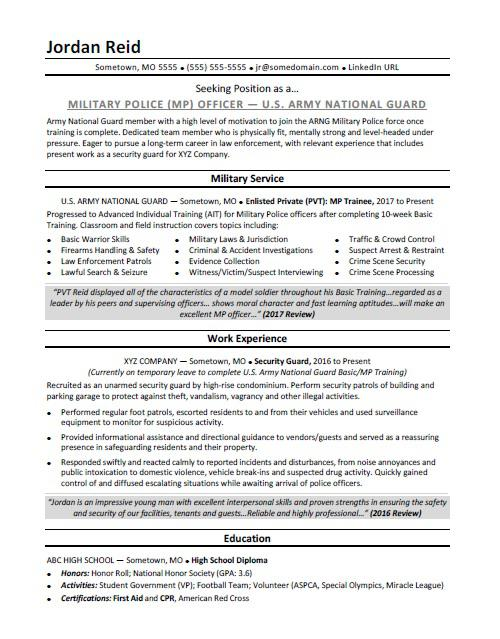 military resume sample monster police writing services customer service bullet points Resume Police Resume Writing Services