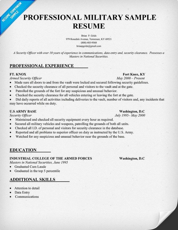military resume writing tips templates sample examples cover letter for security Resume Security Clearance On A Resume Examples