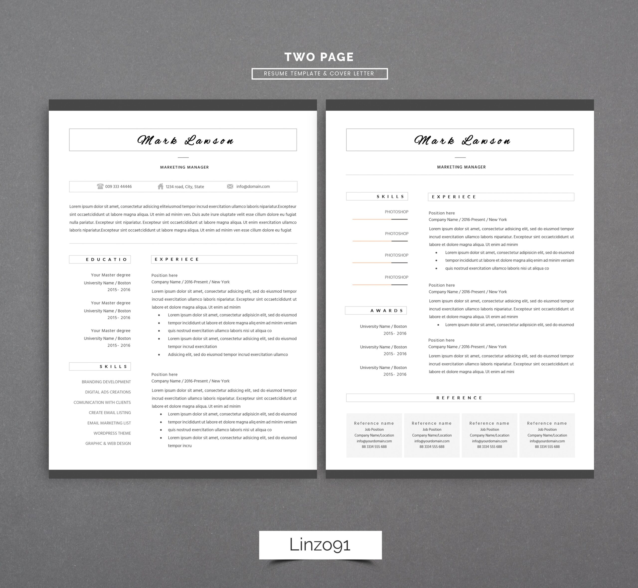 minimal resume cv template for word two cover letter in teacher simple templates design Resume Two Page Resume Template Word