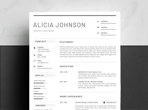 minimalist resume template by design career pro on creativemarket cover letter latex for Resume Minimalist Resume Template