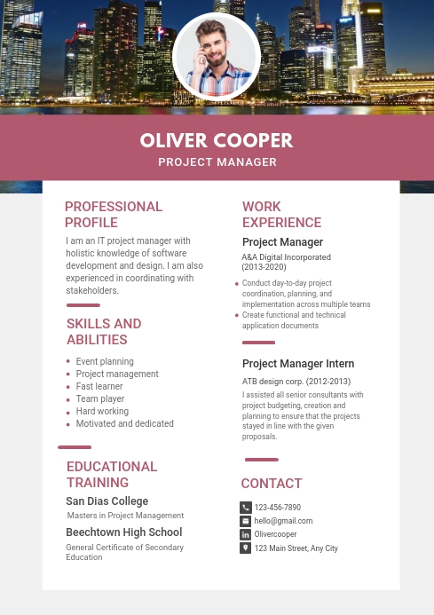 modern project manager resume template postermywall design screen glassdoor upload Resume Project Manager Resume 2020
