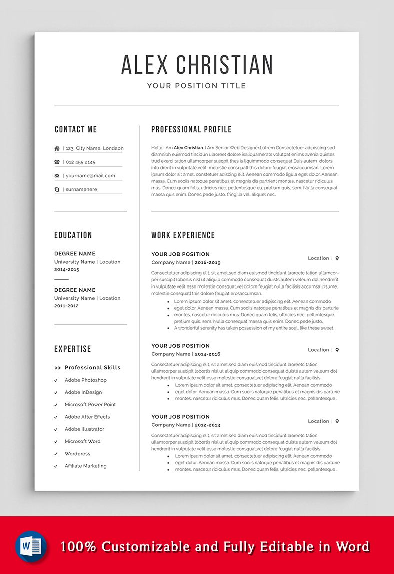 modern resume template professional etsy in cover letter for words organized declaration Resume Organized Resume Template