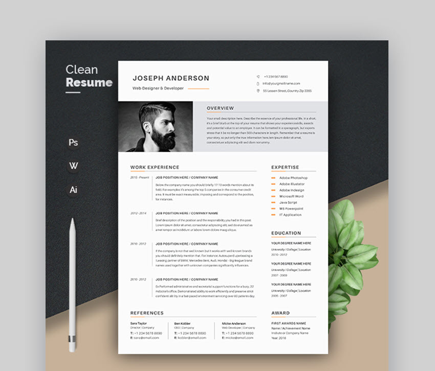 modern resume templates with clean elegant cv designs template compliance officer ats Resume Elegant Resume Template