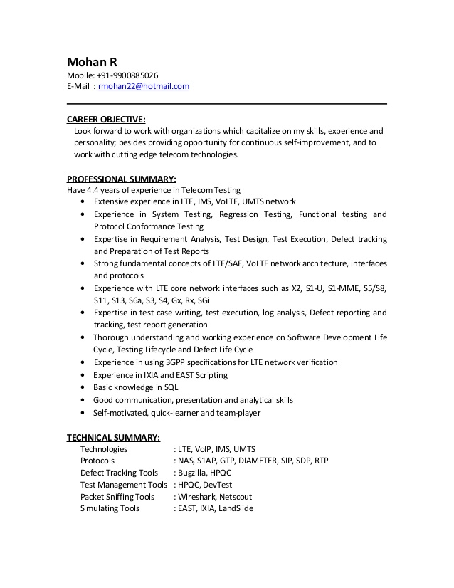 mohan resume lte test engineer cover letter format for marine health care assistant Resume Lte Test Engineer Resume