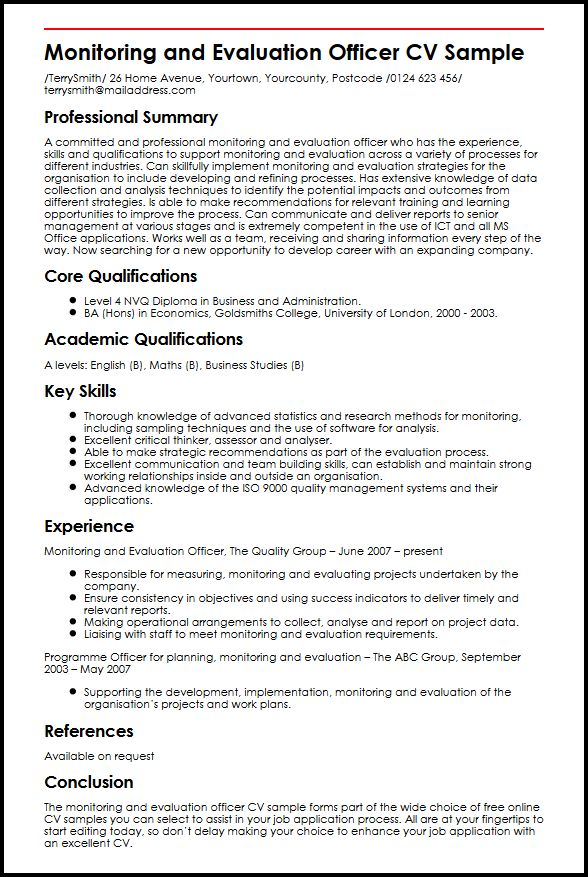 monitoring evaluation officer cv example myperfectcv resume software and sample Resume Resume Evaluation Software
