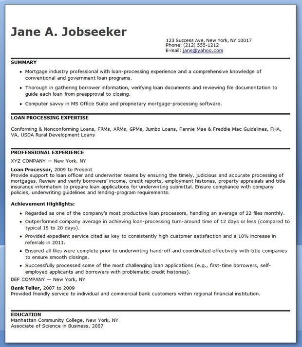 mortgage loan processor resume templates downloads cover letter for commercial generator Resume Commercial Loan Processor Resume