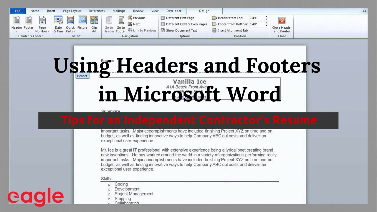 ms word tip using headers and footers in your resume number location process associate Resume Resume Page Number Location