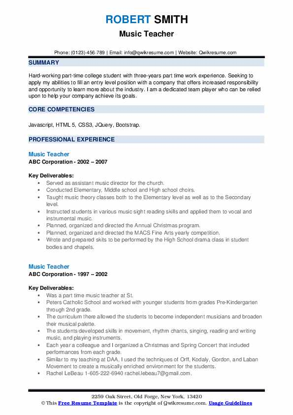 music teacher resume samples qwikresume private pdf for electronics and communication Resume Private Music Teacher Resume