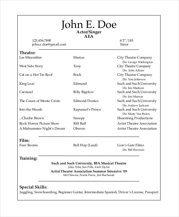 musical theatre resume template the general format and tips for there acting free music Resume Music Resume Template Word