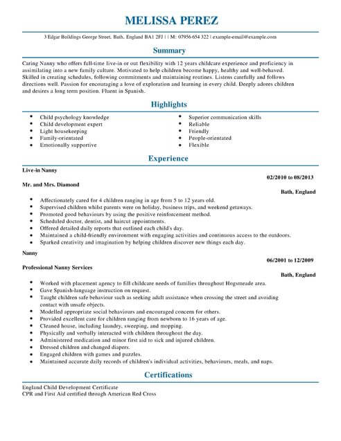nanny cv template samples examples professional resume full intermediate interior Resume Professional Nanny Resume