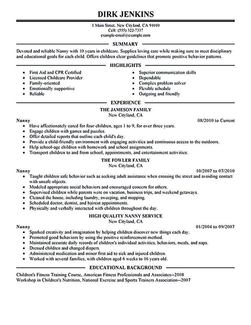 nanny resume examples are made for those professional with the experience in taking care Resume Professional Nanny Resume Templates