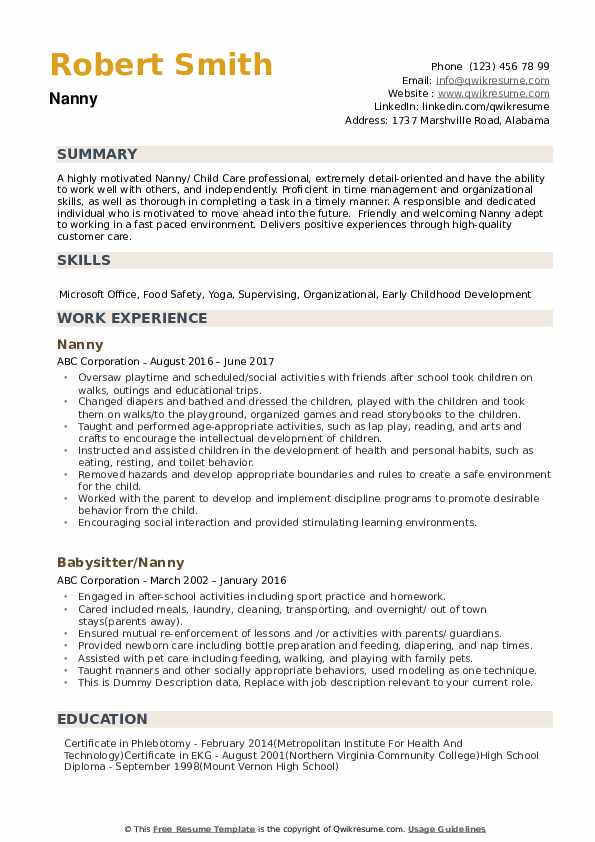 nanny resume samples qwikresume professional pdf massage therapy skills for copywriter Resume Professional Nanny Resume