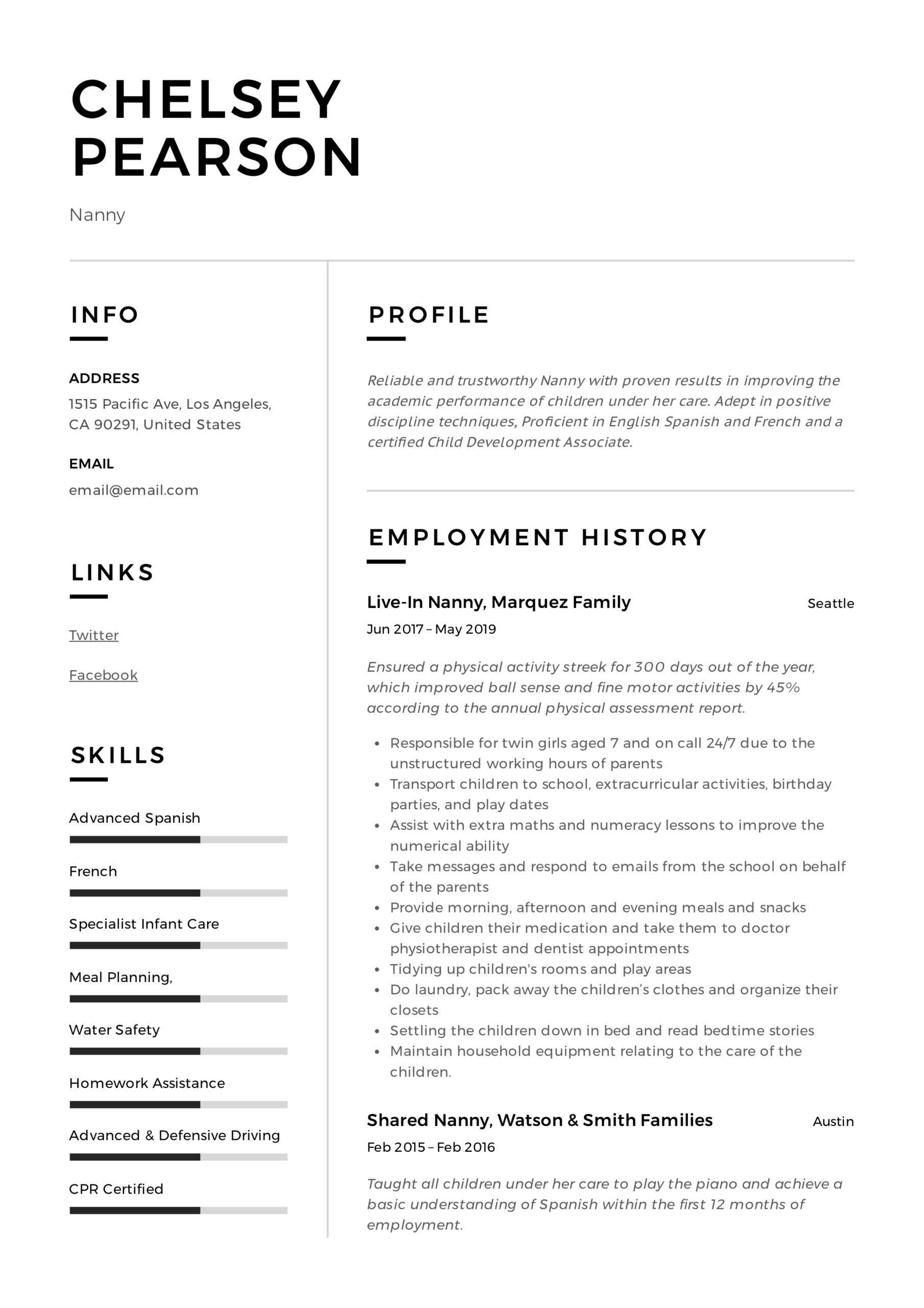 nanny resume writing guide template samples pdf professional templates correctional Resume Professional Nanny Resume Templates