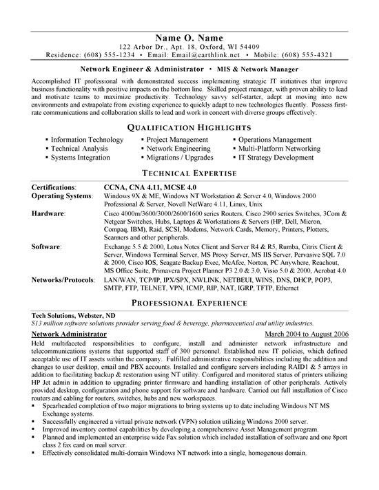 network administrator resume example sample for experienced system ex administrator1a Resume Sample Resume For Experienced System Administrator