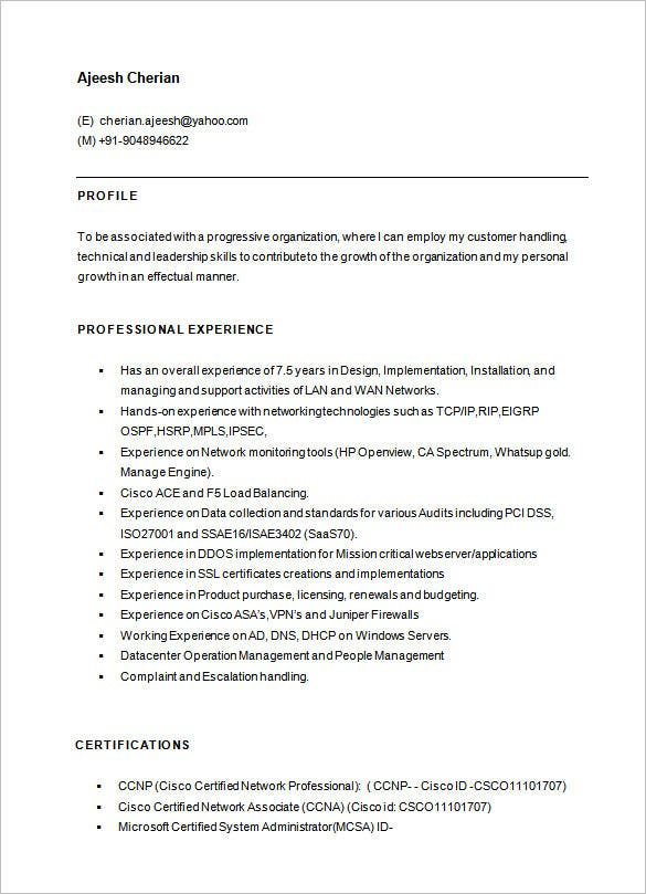 network engineer resume templates pdf free premium for with ccna fresher cisco template Resume Resume For Network Engineer With Ccna Fresher