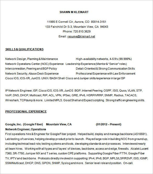 network engineer resume templates pdf free premium for with ccna fresher sample freesumes Resume Resume For Network Engineer With Ccna Fresher