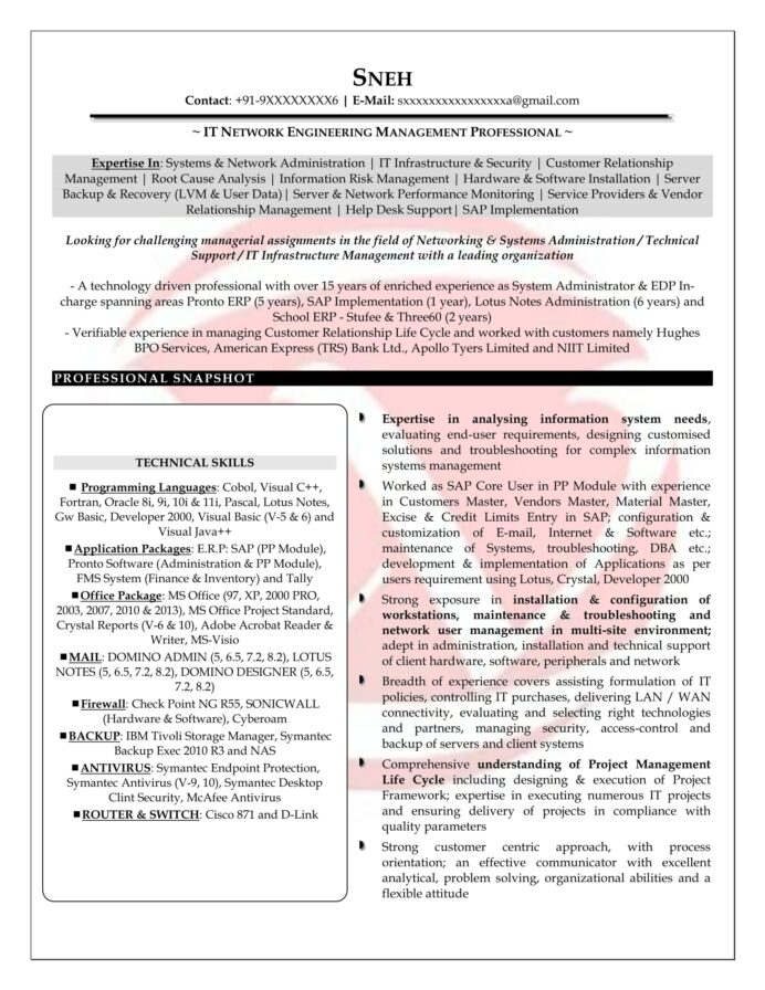 network engineer sample resumes resume format templates with year experience professional Resume Network Engineer Resume With 2 Year Experience