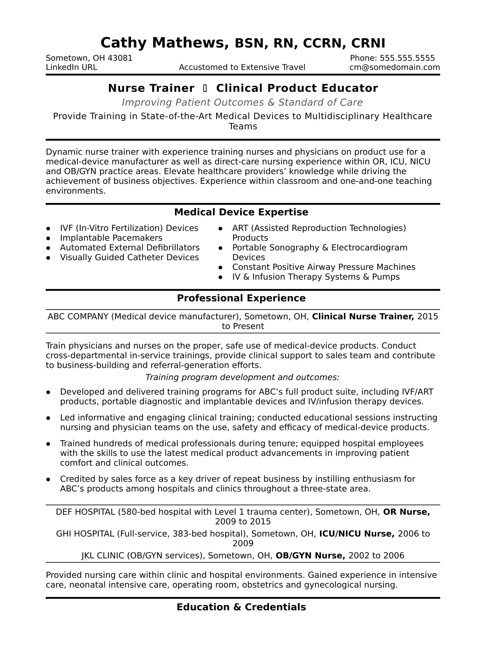 nurse trainer resume sample monster with clinical experience web testing structure ats Resume Resume With Clinical Experience