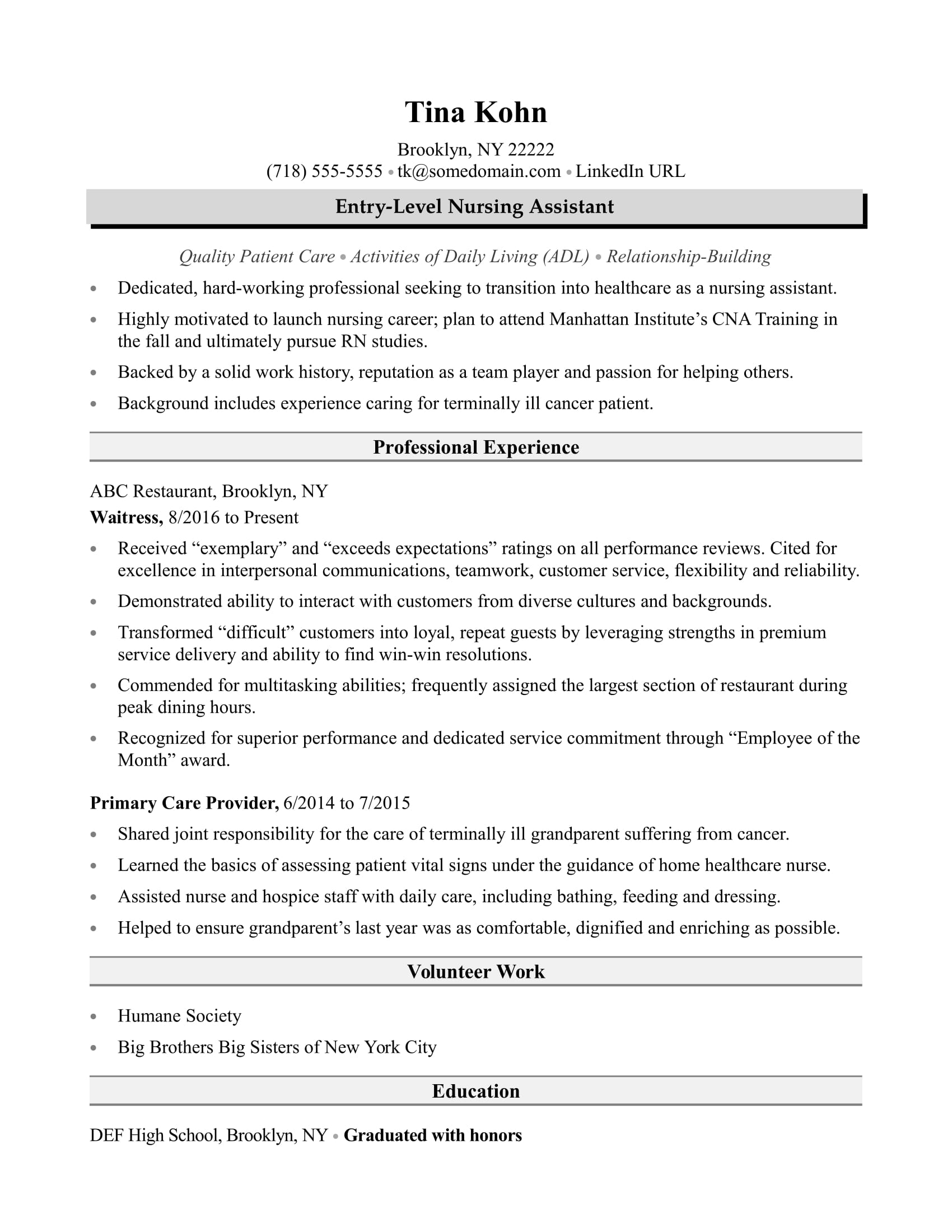 nursing assistant resume sample monster for aide without experience good objectives Resume Sample Resume For Nursing Aide Without Experience