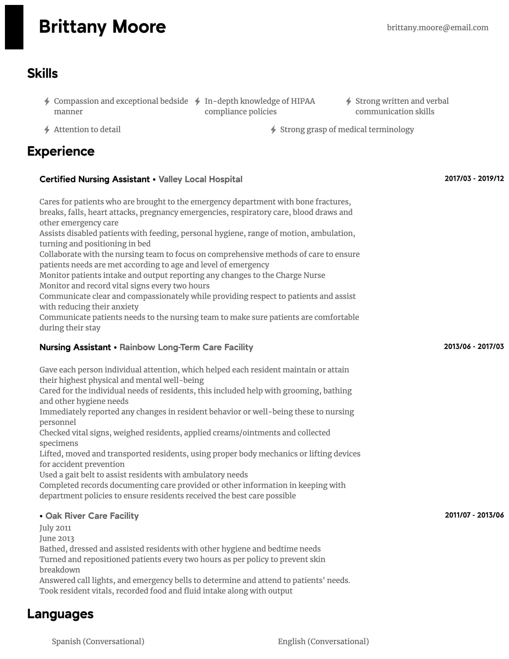 nursing assistant resume samples all experience levels entry level certified intermediate Resume Entry Level Certified Nursing Assistant Resume