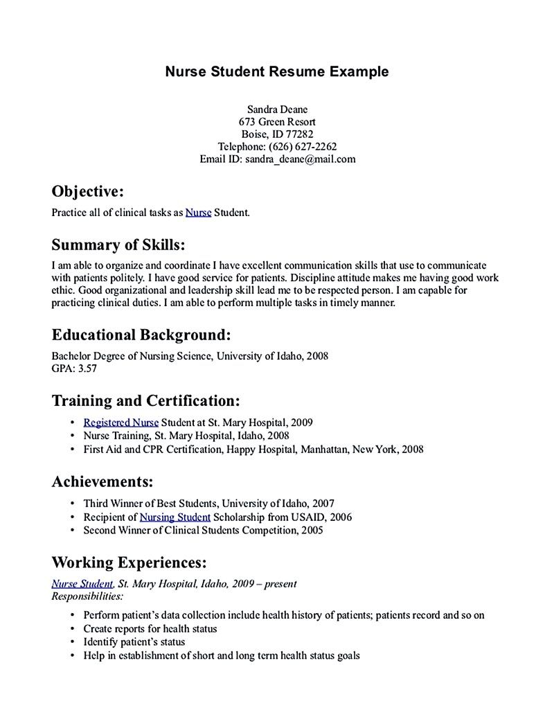 nursing student resume must contains relevant skills experience and also educational Resume Nursing School Resume Objective