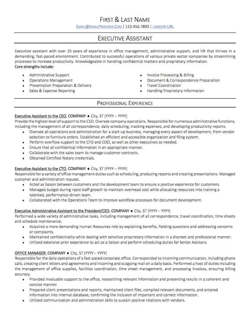 office administrative assistant resume sample professional examples topresume executive Resume Executive Admin Resume Examples